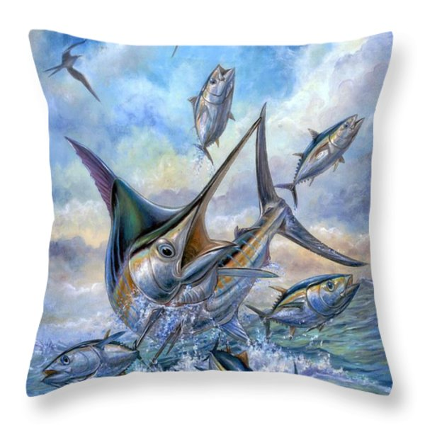 Small Tuna And Blue Marlin Jumping Throw Pillow by Terry Fox