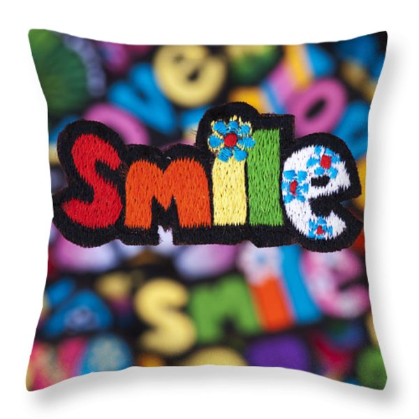 Smile Throw Pillow by Tim Gainey