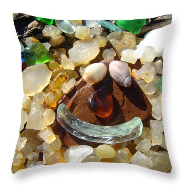 Smiley Face Art Prints Seaglass Shells Agates Beach Throw Pillow by Baslee Troutman