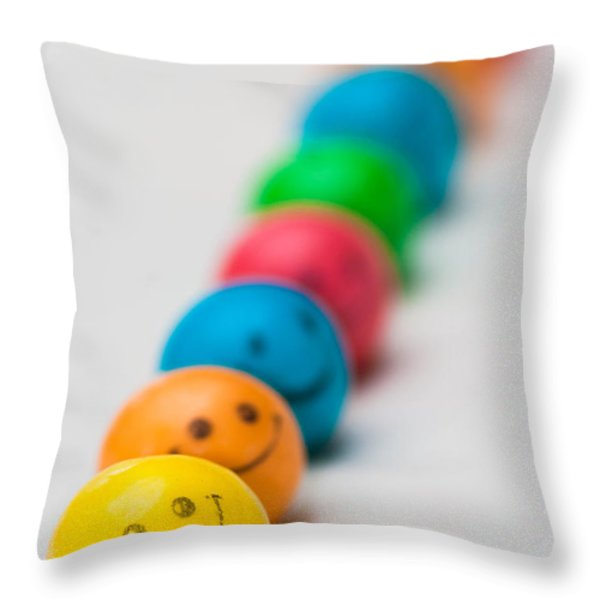 Smiley Face Gum Balls Throw Pillow by Amy Cicconi
