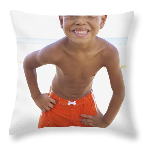 Smiling Boy on Beach Throw Pillow by Kicka Witte