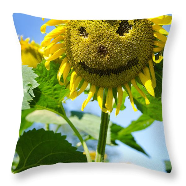 Smiling Sunflower Throw Pillow by Donna Doherty