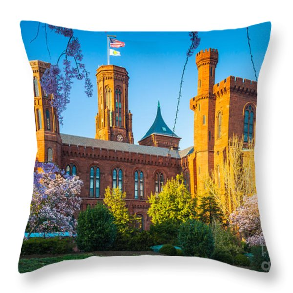 Smithsonian Castle Throw Pillow by Inge Johnsson