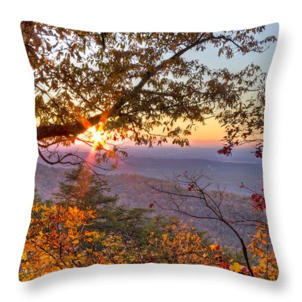 Smoky Mountain High Throw Pillow by Debra and Dave Vanderlaan