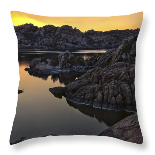 Smoky Sunset on Watson Lake Throw Pillow by Dave Dilli