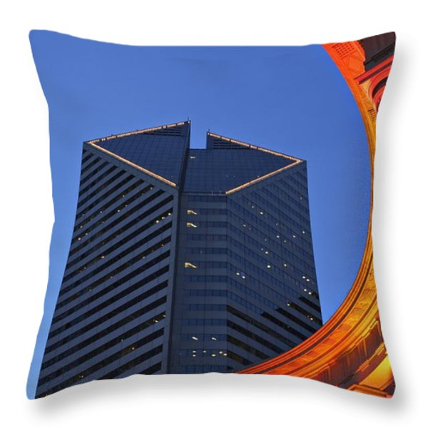 Smurfit-stone Building Behind  Wrigley Throw Pillow by Axiom Photographic