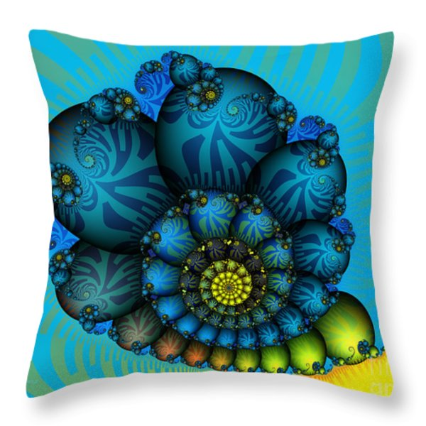 Snail Mail-Fractal Art Throw Pillow by Karin Kuhlmann