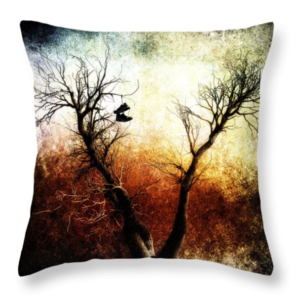 Sneakers In The Tree Throw Pillow by Bob Orsillo