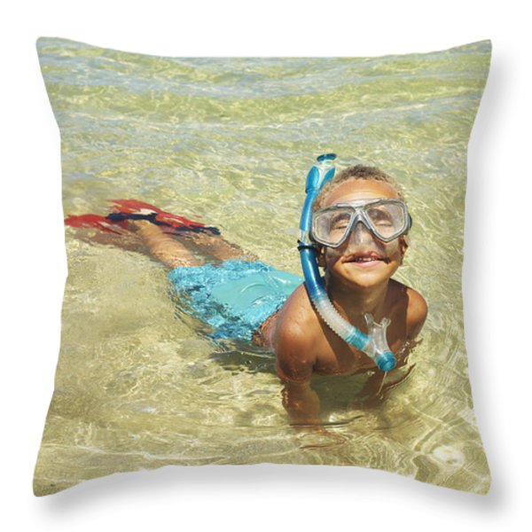 Snorleing Boy Throw Pillow by Kicka Witte