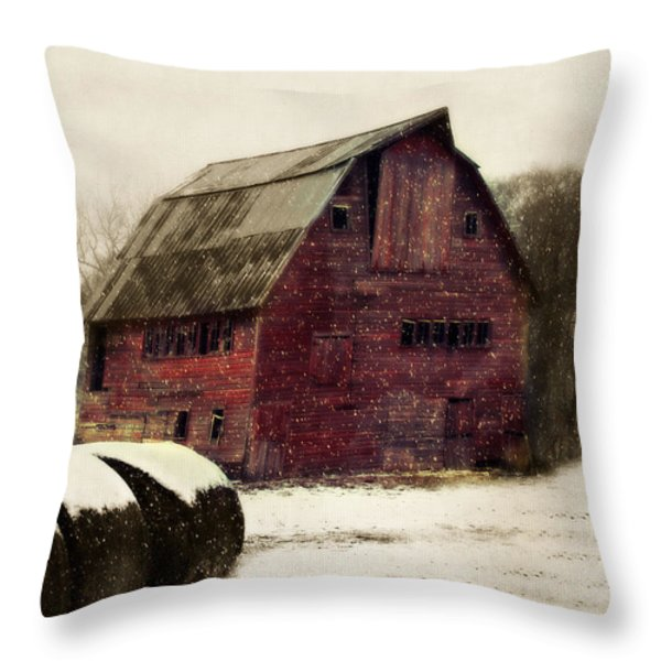 Snow Bales Throw Pillow by Julie Hamilton