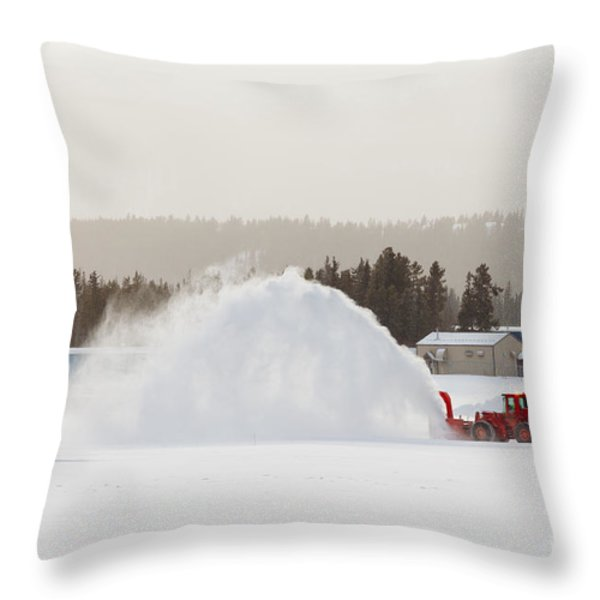 Snow Blower Clearing Road In Winter Storm Blizzard Throw Pillow by Stephan Pietzko