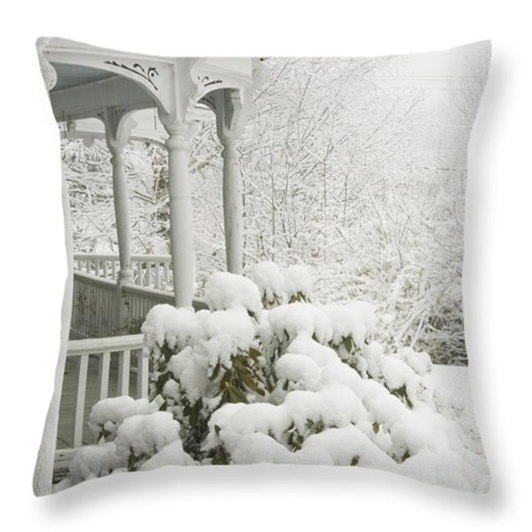 Snow Covered Porch Throw Pillow by Keith Webber Jr