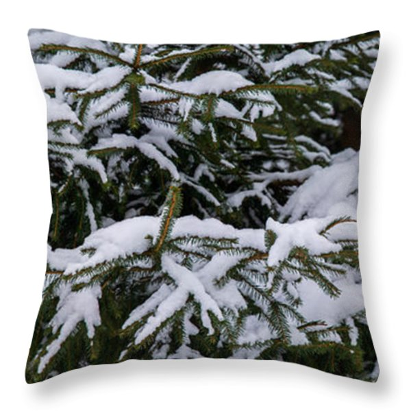 Snow Covered Spruce Tree - Featured 2 Throw Pillow by Alexander Senin