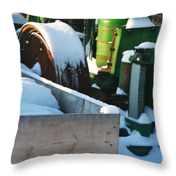 SNOW COVERED TRACTOR Throw Pillow by PainterArtist FIN