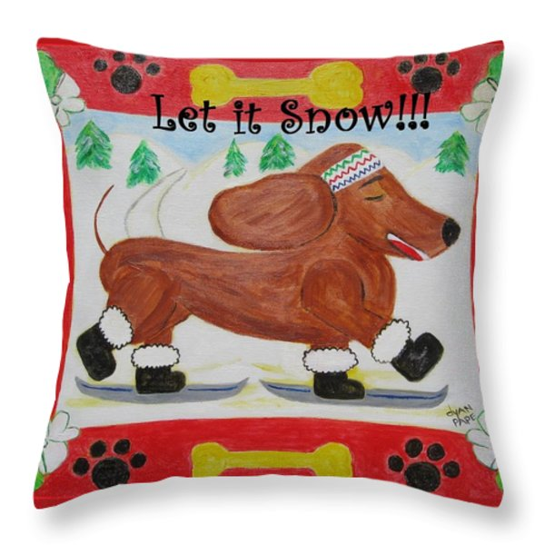 Snow Dog Throw Pillow by Diane Pape