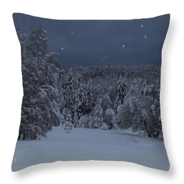 Snow falling in a forest Throw Pillow by Intensivelight
