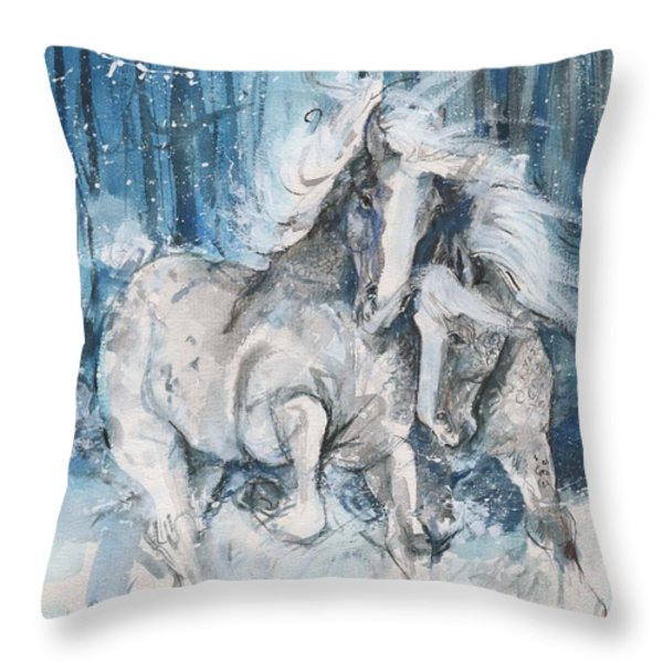 Snow Horses Throw Pillow by Mary Armstrong