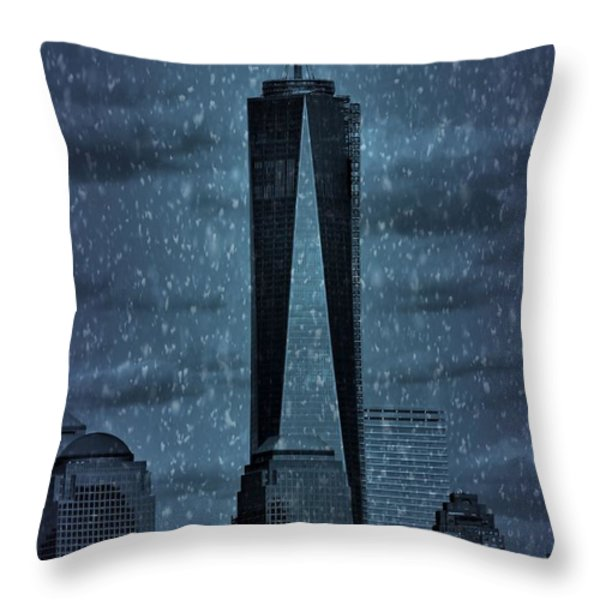 Snow In New York City Throw Pillow by Dan Sproul