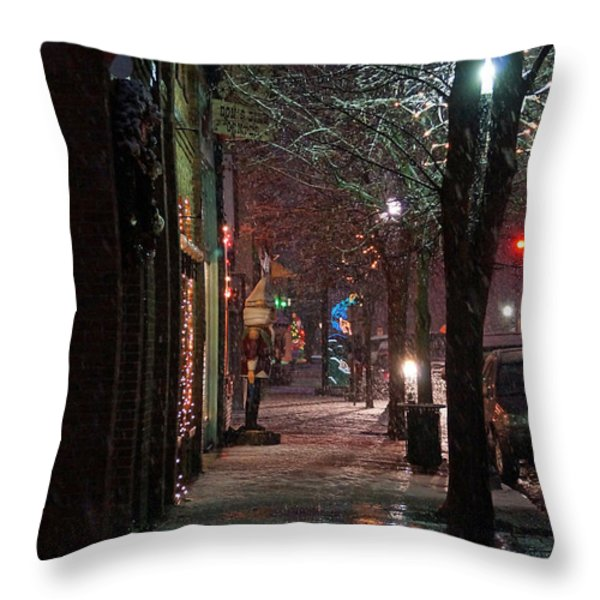 Snow On G Street 2 - Old Town Grants Pass Throw Pillow by Mick Anderson