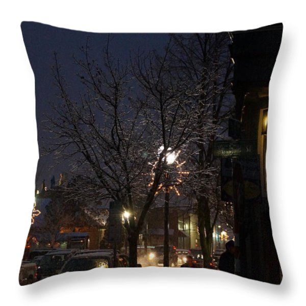 Snow On G Street 4 - Old Town Grants Pass Throw Pillow by Mick Anderson