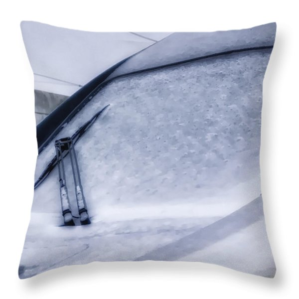 Snow On The Train Throw Pillow by Joan Carroll