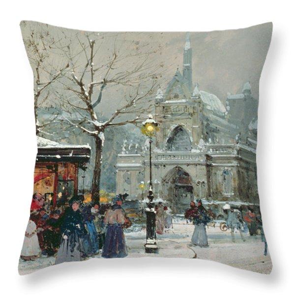 Snow Scene In Paris Throw Pillow by Eugene Galien-Laloue