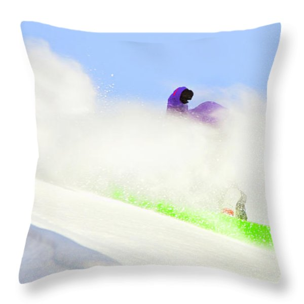 SNOW SPRAY Throw Pillow by Theresa Tahara