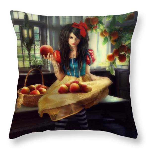 Snow White Throw Pillow by Cindy Grundsten