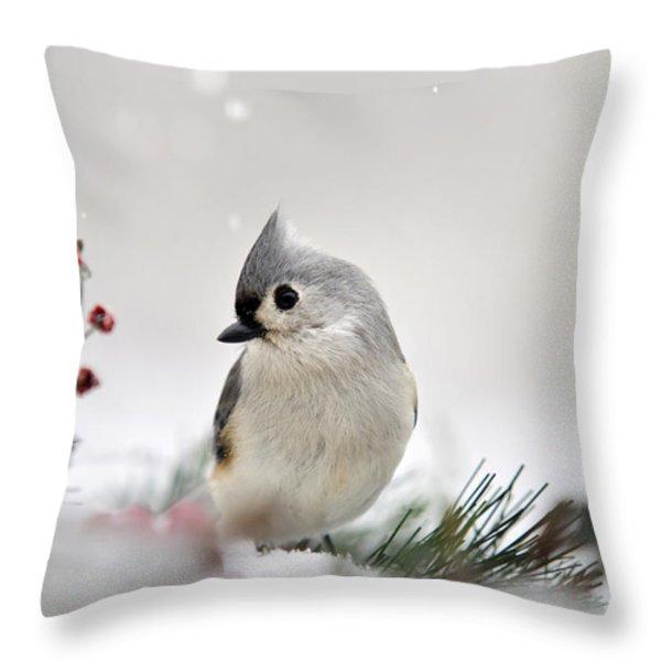 Snow White Tufted Titmouse Throw Pillow by Christina Rollo