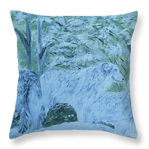 Snow Wolves Throw Pillow by Eloise Schneider