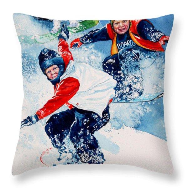 Snowboard Super Heroes Throw Pillow by Hanne Lore Koehler