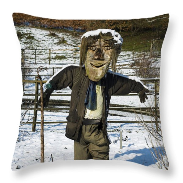 Snowcapped Scarecrow Throw Pillow by Anne Gilbert