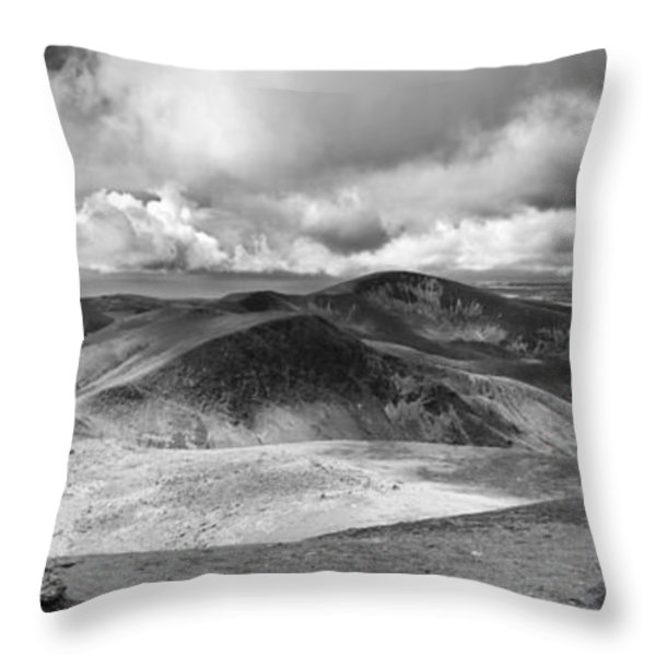 Snowdonia Panorama In Black And White Throw Pillow by Jane Rix