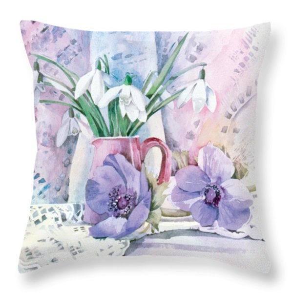 Snowdrops And Anemones Throw Pillow by Julia Rowntree