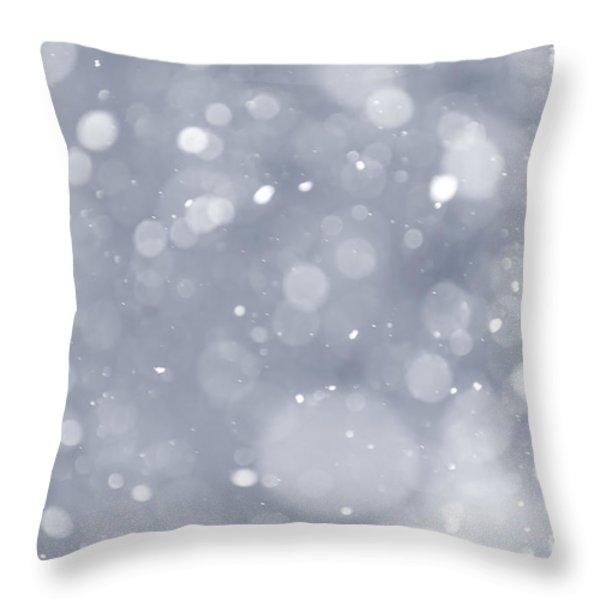 Snowfall background Throw Pillow by Elena Elisseeva