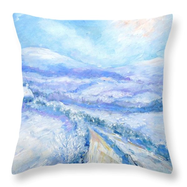 Snowfall On The Laneway  Throw Pillow by Trudi Doyle