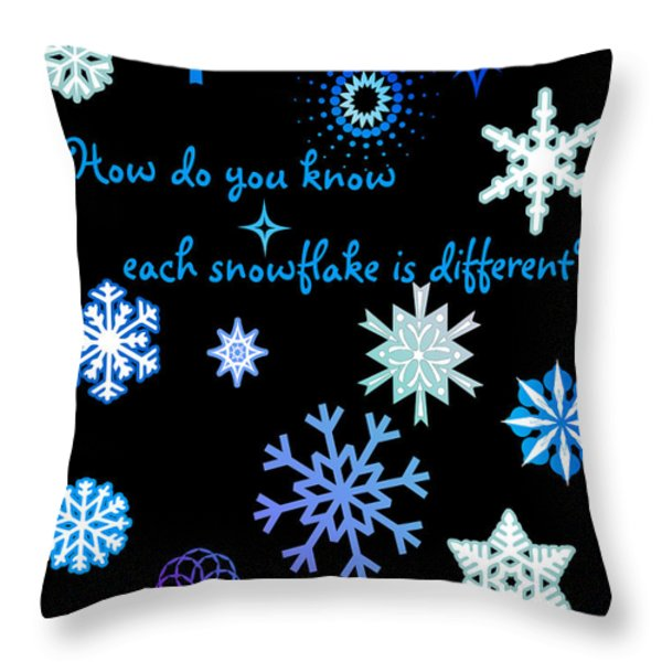 Snowflakes 2 Throw Pillow by Methune Hively
