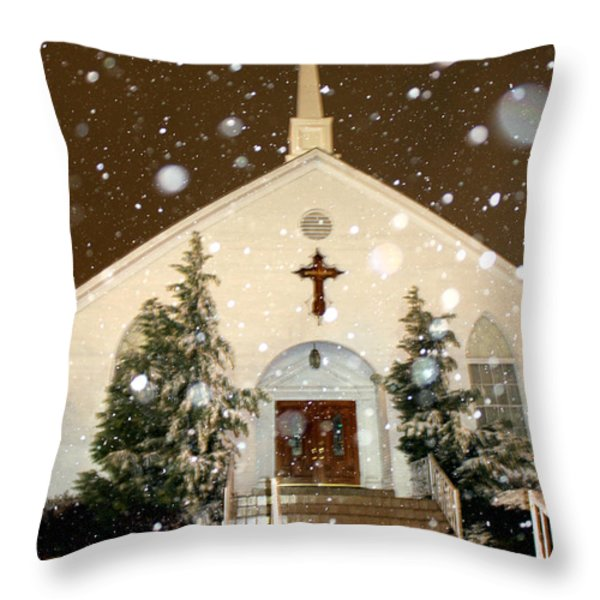 Snowing At The Chapel Throw Pillow by Kathy  White