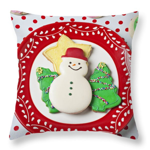 Snowman cookie plate Throw Pillow by Garry Gay