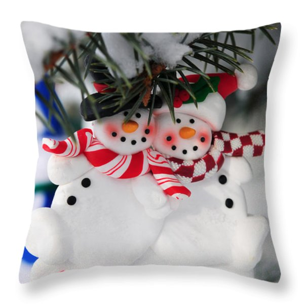 Snowmen Christmas Ornament Throw Pillow by Elena Elisseeva