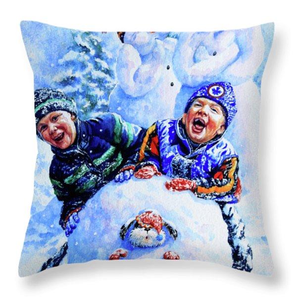 Snowmen Throw Pillow by Hanne Lore Koehler