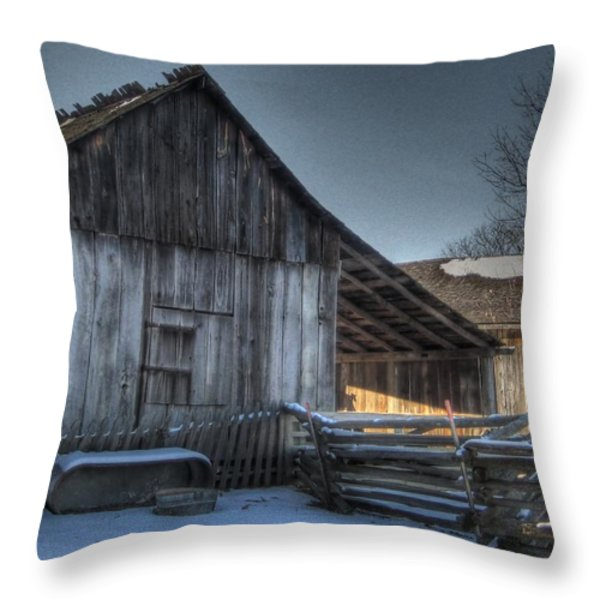 Snowy Barn Throw Pillow by Jane Linders