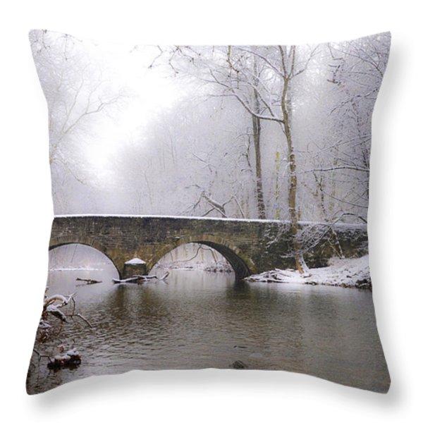 Snowy Bells Mill Road Bridge Throw Pillow by Bill Cannon