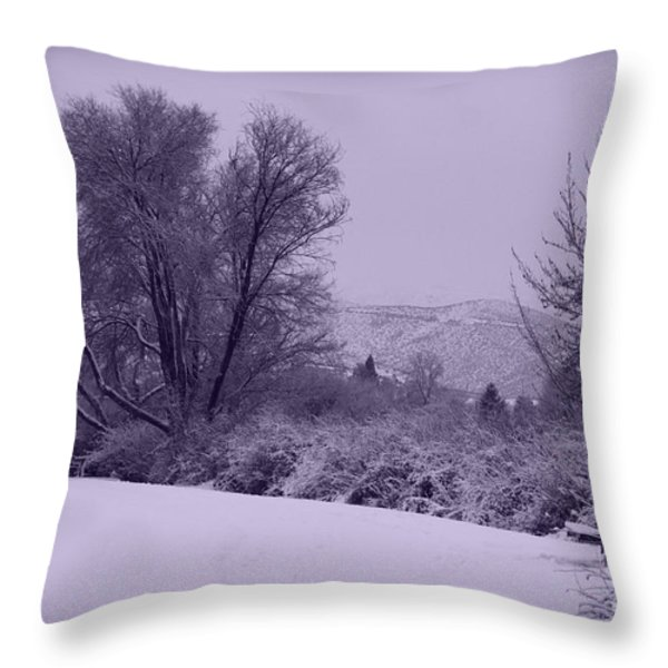 Snowy Bench In Purple Throw Pillow by Carol Groenen