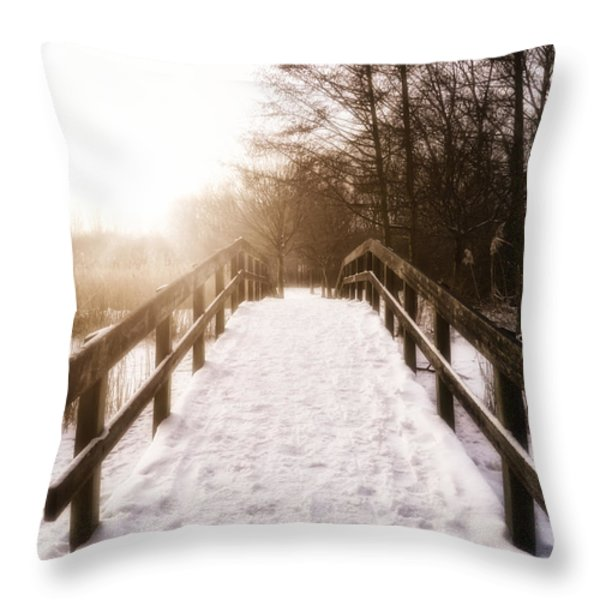 Snowy Bridge Throw Pillow by Wim Lanclus