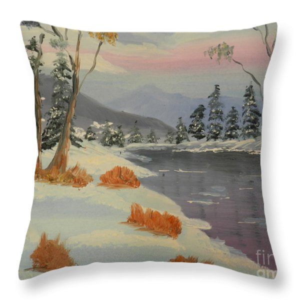 Snowy Day In Europe Throw Pillow by Pamela  Meredith