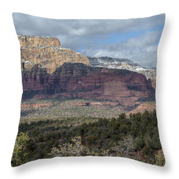 Snowy Day In Sedona Throw Pillow by Sandra Bronstein