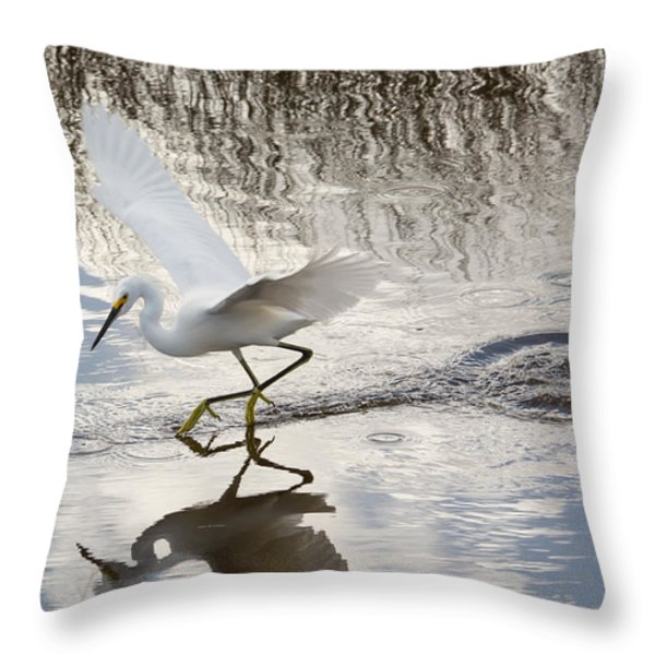 Snowy Egret Gliding Across the Water Throw Pillow by John Bailey