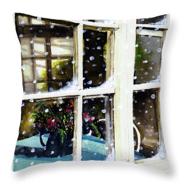 Snowy Inn Window Throw Pillow by Deborah Burow