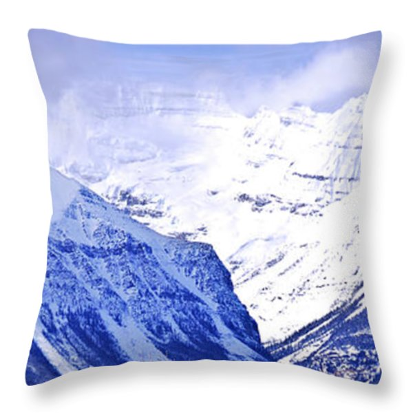 Snowy mountains Throw Pillow by Elena Elisseeva